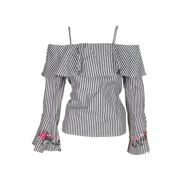 bc0c54b4ffd Bcx Juniors Balck White Bell-Sleeve Embroidered Cuff Cold-Shoulder Striped  Blouse S