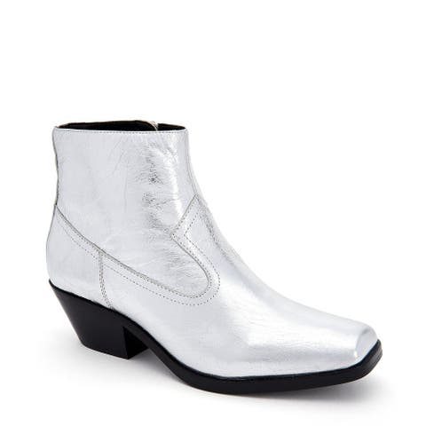 Calvin Klein Womens Sadi Leather Square Toe Ankle Cowboy Boots