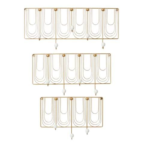 Rectangular White And Gold Metal Round Knob Wall Hooks, Set Of 3 - 24 x 5 x 10