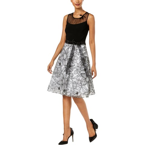 SLNY Womens Semi-Formal Dress Floral Embroidered