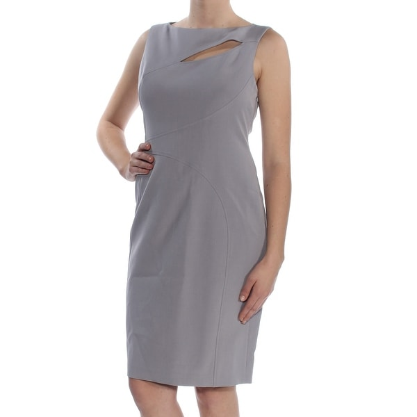 ANNE KLEIN Womens Purple Cut Out Sleeveless Jewel Neck Knee Length Sheath Cocktail Dress Size: 10