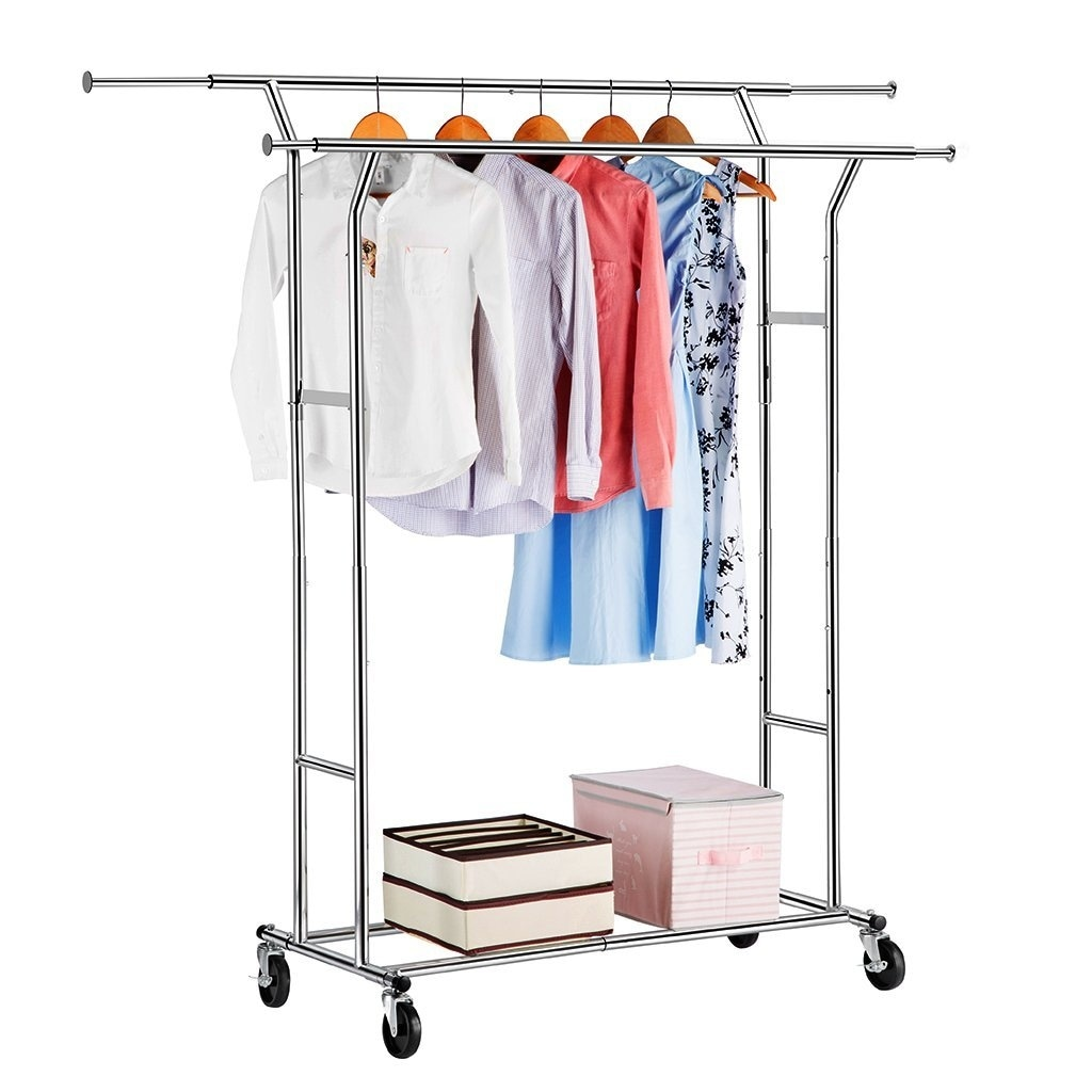 Langria Commercial Grade Double Rod Garment Rack Collapsible Clothes Drying Rolling Hanger