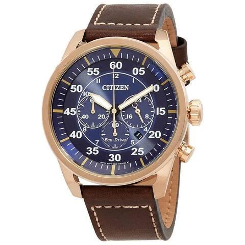 Citizen Men's CA4213-18L 'Avion' Brown Leather Watch - Blue