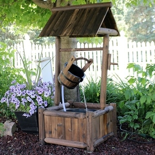 Sunnydaze Rustic Wood Wishing Well Outdoor Water Fountain with Liner - 46-Inch