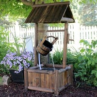 shop sunnydaze old fashioned wood wishing well water fountain with