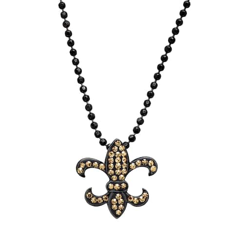 Crystaluxe Fleur-de-Lis Pendant with Swarovski Crystals in Black Rhodium-Plated Sterling Silver - Champagne