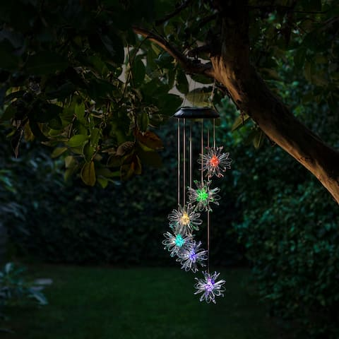 """Alpine Corporation 28"""" Outdoor Solar Powered Mobile with Color Changing LED 3D Flowers"""