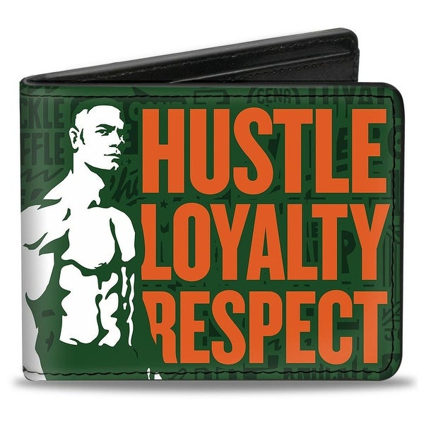 John Cena Silhouette Hustle Loyalty Respect Icons Collage Greens White Bi-Fold Wallet - One Size Fits most