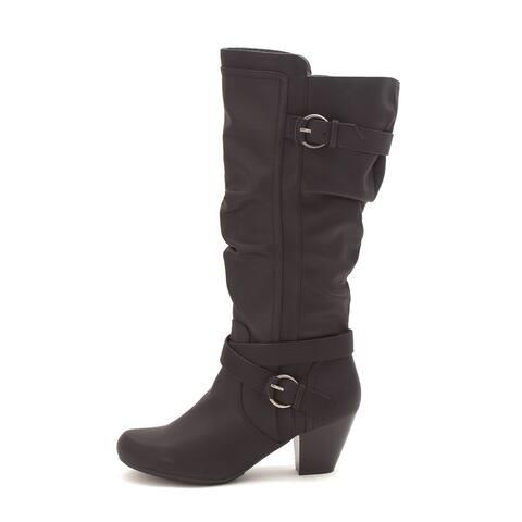 Rialto Womens Crystal Closed Toe Mid-Calf Fashion Boots