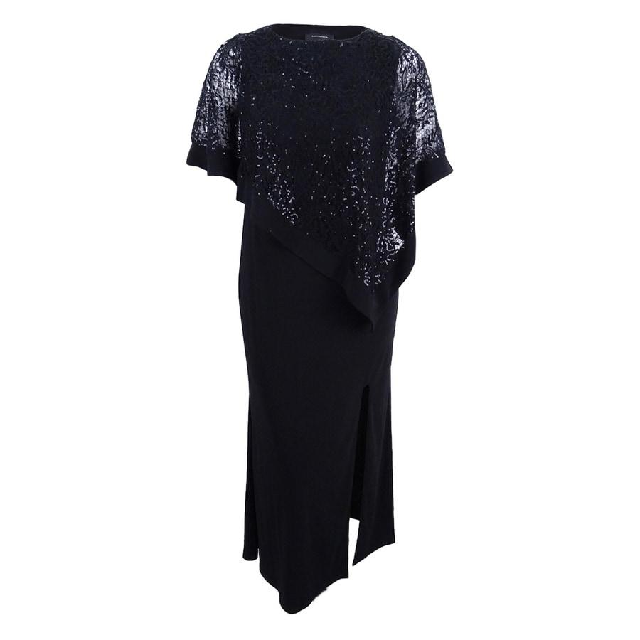 R&M Richards Womens Sequined Lace Cold-Shoulder Cape Gown