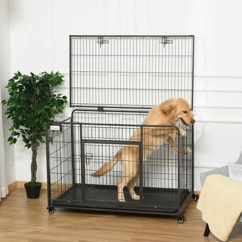 PawHut Heavy Duty Folding Design Metal Dog Crate & Kennel with Removable Tray & 4 Locking Wheels