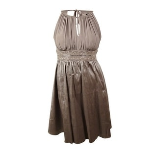 R&M Richards Women's Beaded Waist Keyhole Taffeta Dress - 14