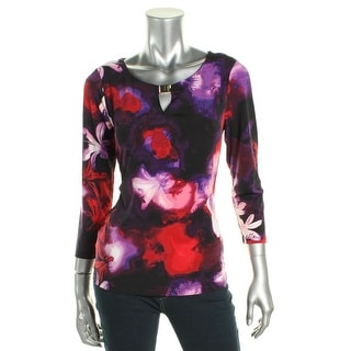 Calvin Klein Womens Blouse Printed Embellished