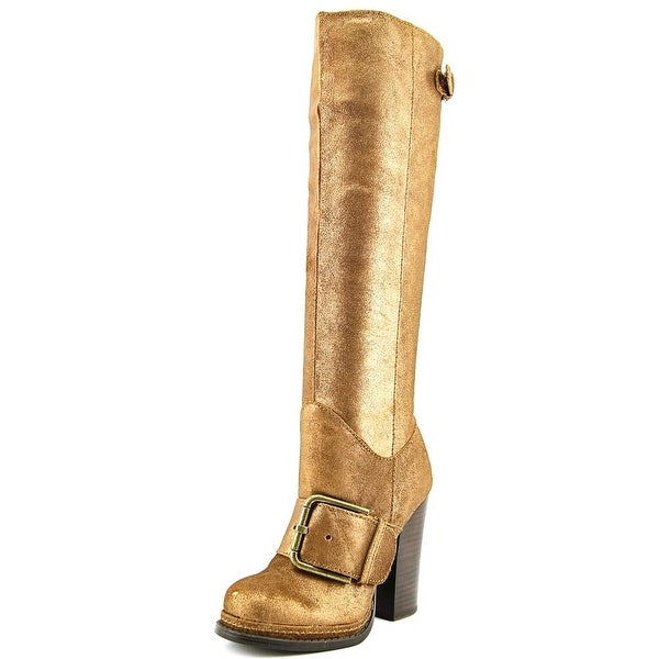 Nine West Throwdown Round Toe Leather Knee High Boot