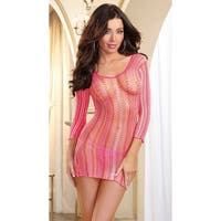 Fishnet Dress,  Striped Fishnet Long Sleeve Dress - One Size Fits most