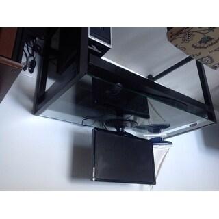 Idabel Dark Brown Wood Modern Desk with Glass Top