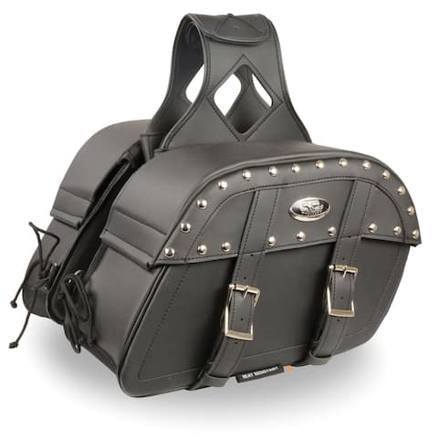 Black Leather Motorcycle Saddle Bags 10.5X15X6X18 - One Size