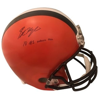 Baker Mayfield Autographed Cleveland Browns Signed Full Size Football Helmet 2018 1st Draft Pick Be