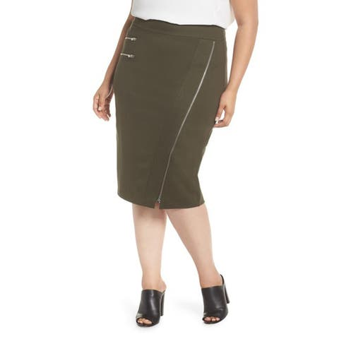 Sejour Zipper Detail Ponte Pencil Skirt (Plus Size), Olive Night, 24W