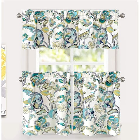 DriftAway Layla Floral Leaves Pattern Semi Sheer 3 Pieces Kitchen Tier