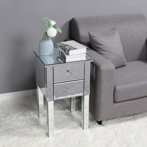 Modern 2 Drawers Mirrored Nightstand Bedside Table Silver