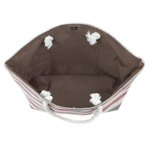 Eshma Mardini Striped Canvas Beach Bag - Inner Pocket, Top Handle - Eco Friendly