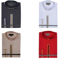 Men's Collarless Banded Collar Dress Shirt with Gold Bordered Embroidery