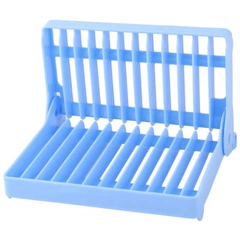 "Plastic 12 Slots Folding Dish Drying Drainer Plate Rack Organizer - Blue - 8"" x 6"" x 2.8""(L*W*H)"