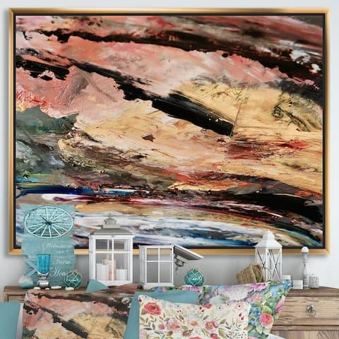 Designart 'Oil On Canvas Textured Composition I' Modern & Contemporary Framed Canvas Wall Art Print