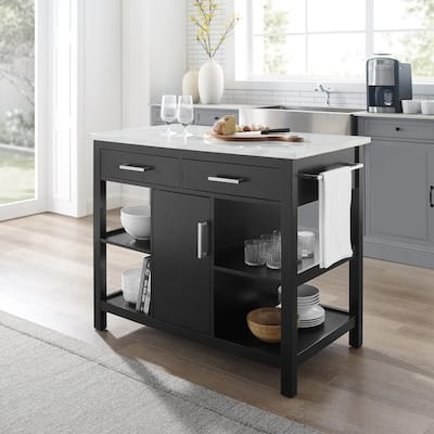 """Audrey Black with Faux Marble Top Kitchen Island - 42""""W x 23.5""""D x 36""""H"""