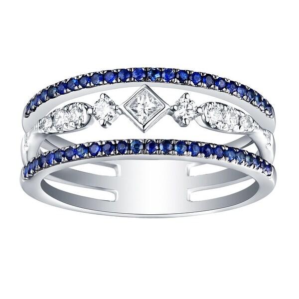 Prism Jewel 0.52CT SI2 Blue Sapphire & G-H/I1 Natural Diamond Anniversary Ring