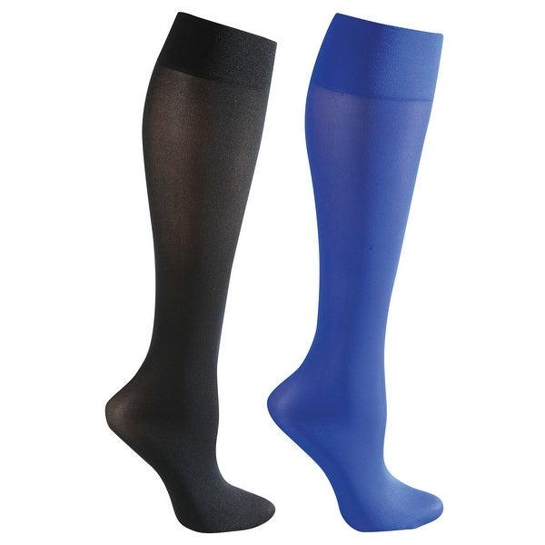 Mild Support 2 Pair Knee High Trouser Socks with 8-15 mmHg Compression - Blue/Black - Medium