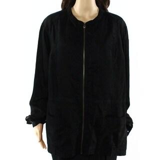 Caslon NEW Black Womens Size 2X Plus Front-Zip Linen Utility Jacket