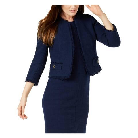 Anne Klein Womens Collarless Blazer Tweed Open Front