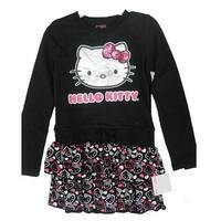 Hello Kitty Little Girls Black Glittery Kitty Face Layered Dress 4-6X