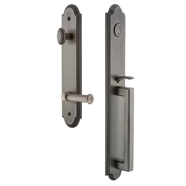 """Grandeur ARCDGRGEO_ESET_234_RH Arc Solid Brass Rose Right Handed Keyed Entry Single Cylinder Full Plate """"D"""" Grip Handleset with"""