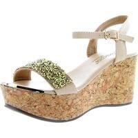 Dbdk Womens Laveda-1 Ankle Strap Cork Wedge Platform Sandals - Taupe