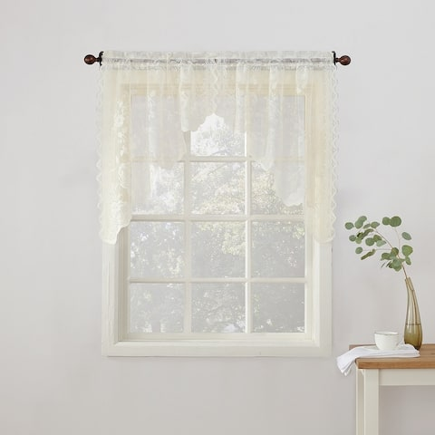 No. 918 Alison Floral Lace Sheer Rod Pocket Kitchen Curtain Swag Pair