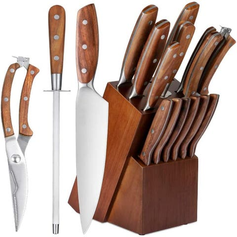 14 Pieces High Carbon Stainless Steel Knives with Solid Wood Handle, Sharpener, Chef Knife, Steak Knives, Utility Knife - 14pcs