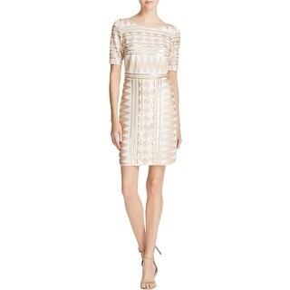 Laundry by Shelli Segal Womens Cocktail Dress Sequined Short Sleeves