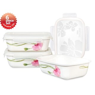 Lock & Lock Sophie 400ml /14oz Rectangular Ceramic Bowl 3PC Set