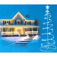 Set of 2 Cool White LED Lighted Spiral Christmas Trees Outdoor Decorations 3', 4' - CLEAR