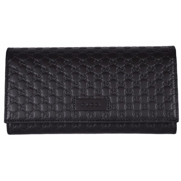 618dbf639228 Gucci Women's 449396 Black Leather Micro GG Continental Bifold Wallet  - 7.5