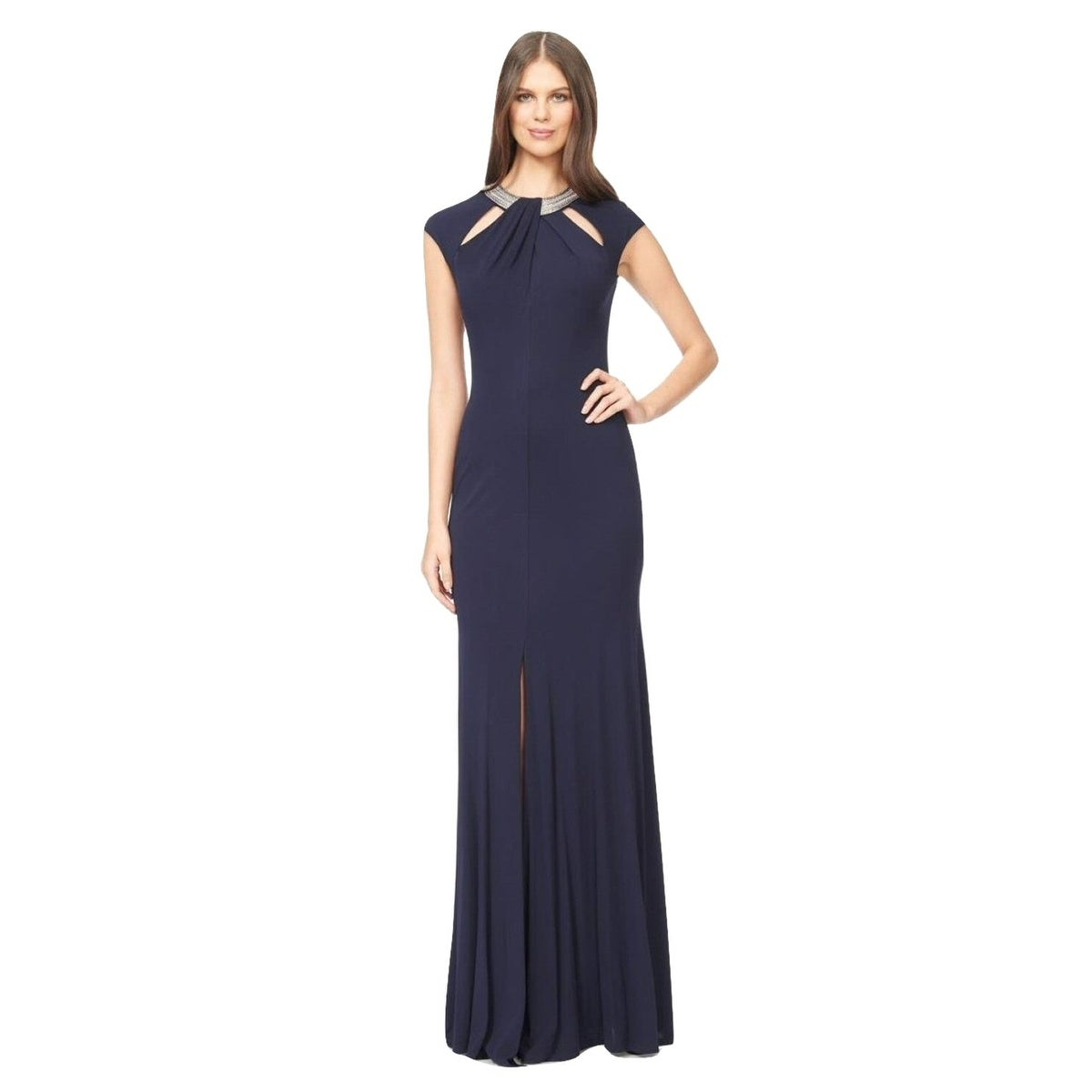 a1f120086f4 Shop David Meister Embellished Cutout Jersey Evening Gown Dress Navy - Free  Shipping Today - Overstock.com - 14826204