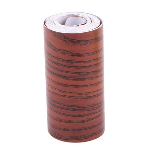 Home Wooden Pattern Self-adhesive Skirting Wall Waist Line Border Sticker Brick Red 16.4Ft