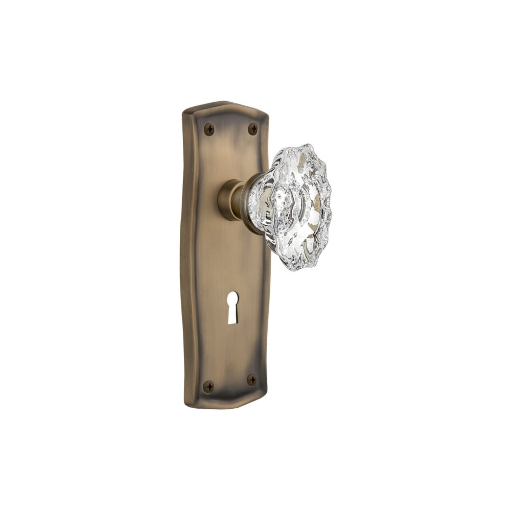 Nostalgic Warehouse PRACHA_SD_KH  Chateau Solid Brass Single Dummy Knob with Prairie Rose and Keyhole (Antique Pewter)