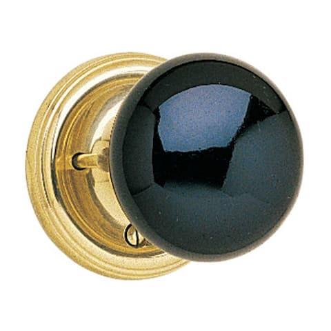 Privacy Set Door Knob Set Black Porcelain 2 3/8'' Backset