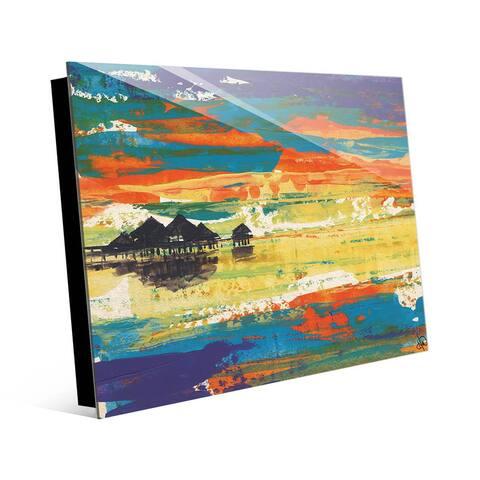 Kathy Ireland Bright Bora Bora Abstract Seascape on Acrylic Wall Art Print