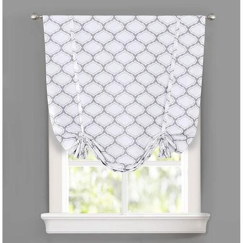 DrfitAway Geo Trellis Tie Up Adjustable Balloon Curtain for Small Window - 45'' Width X 63'' Length