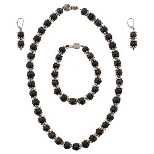 Pearls Only Womens Necklace Freshwater Pearl AA Quality - Black